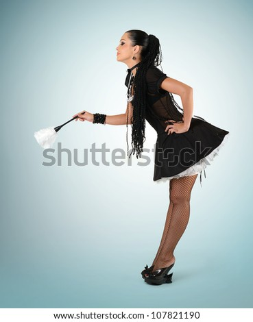 Beautiful sexy french maid, concept cleaning - stock photo