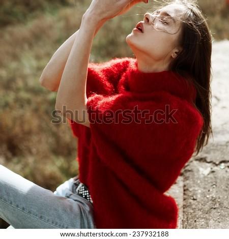 Beautiful sexy girl, closeup portrait on the wind - stock photo
