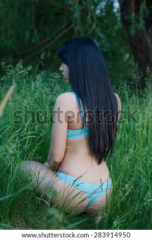 Beautiful sexy girl in blue lingerie kneeling in high grass on hot summer day. - stock photo