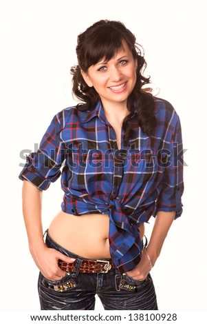 Beautiful sexy girl in casual shirt and jeans isolated on white - stock photo