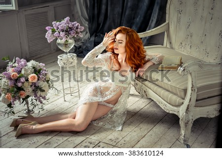 beautiful sexy girl in the morning in the interior