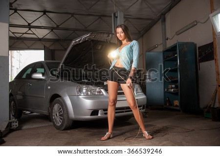 Beautiful Sexy Girl Standing Near Car Stock Photo