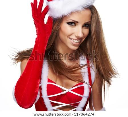 beautiful sexy girl wearing santa claus clothes - stock photo
