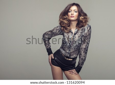 Beautiful sexy girl with long Hair - stock photo