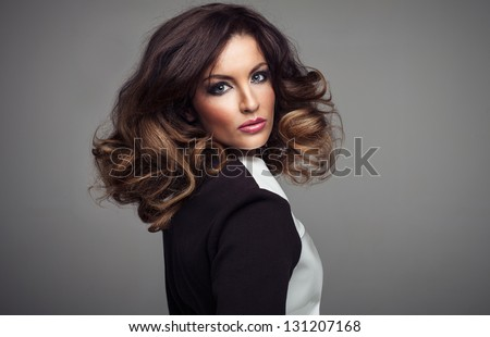 Beautiful sexy girl with long Hair. Perfect Makeup - stock photo
