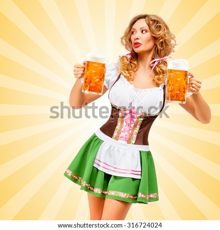 Beautiful sexy Oktoberfest woman wearing a traditional Bavarian dress dirndl looking aside with two beer mugs on colorful abstract cartoon style background. - stock photo