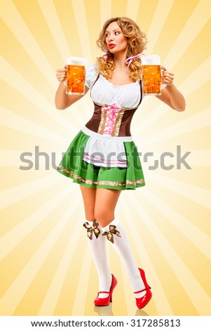 Beautiful sexy Oktoberfest woman wearing a traditional Bavarian dress dirndl looking aside with two beer mugs on colorful abstract cartoon style background.