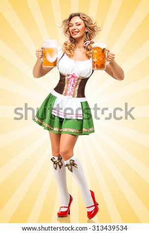 Beautiful sexy Oktoberfest woman wearing a traditional Bavarian dress dirndl serving two beer mugs on colorful abstract cartoon style background and smiling. - stock photo