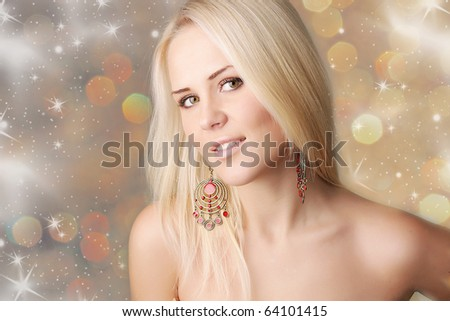 beautiful sexy smiling blonde girl closeup isoleted on the christmas background - stock photo