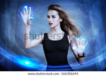 Beautiful Sexy Woman Using Virtual Screen. Perfect IT Virtual Reality Concept. Touch Screen Interface Visualization. - stock photo