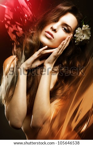 beautiful sexy woman with flowers and water - stock photo