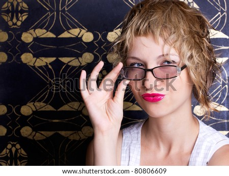 Beautiful sexy woman with glasses - stock photo
