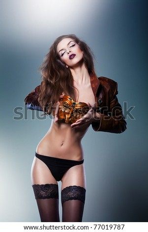 beautiful sexy woman with venetian mask - stock photo