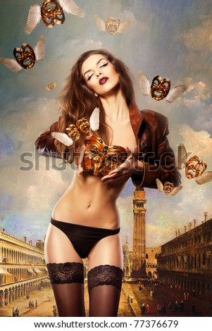 beautiful sexy woman with venetian mask in venice - stock photo