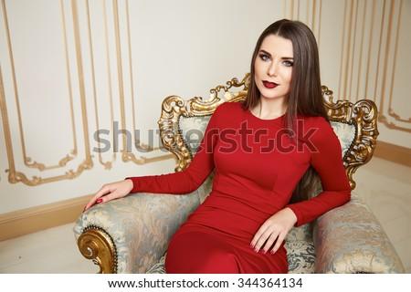 Beautiful Sexy Woman Brunette Hair Natural Stock Photo ...