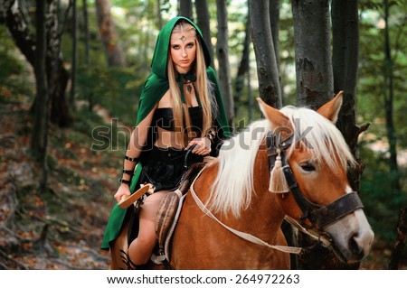 Beautiful sexy Young Female elf  with a bow on horseback