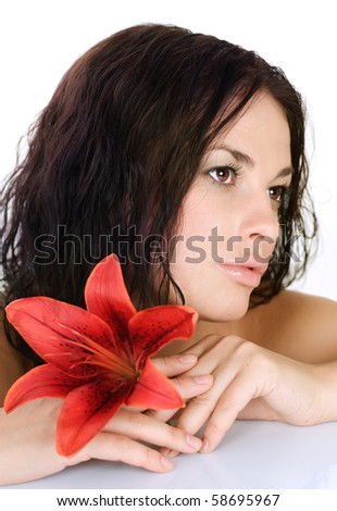 Beautiful Sexy Young Woman with flower