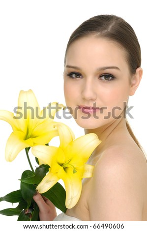 Beautiful Sexy Young Woman with lily flower - stock photo