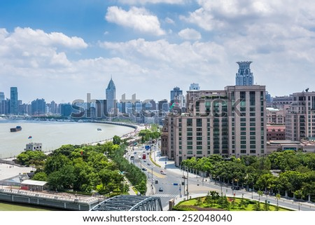 beautiful shanghai bund against a sunny sky