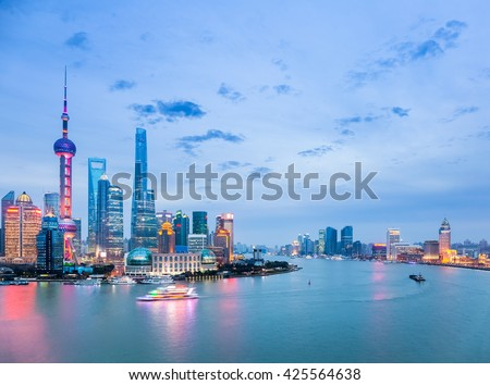 beautiful shanghai cityscape in nightfall , huangpu river with pudong skyline, China