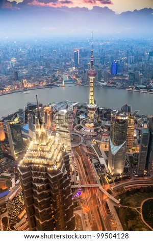 beautiful shanghai in the evening,aerial view from world financial center - stock photo