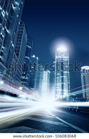 Beautiful Shanghai Pudong skyline at dusk in Shanghai, China - stock photo