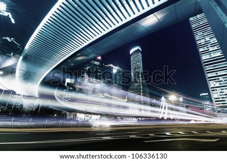 Beautiful Shanghai Pudong skyline at dusk in Shanghai, China - stock photo