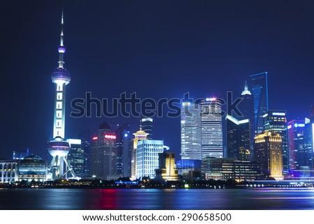 Beautiful Shanghai Pudong skyline at night - stock photo