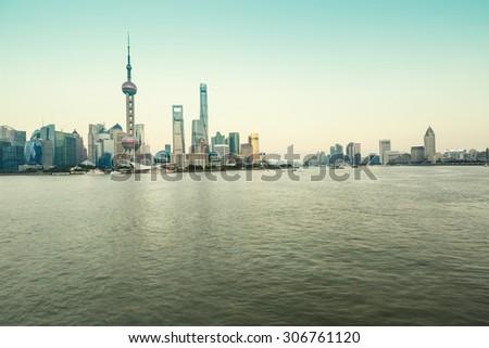 Beautiful Shanghai skyline at dusk China - stock photo