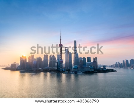 beautiful shanghai skyline in sunrise , one of the most attractive cities in China - stock photo