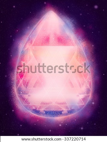 beautiful shining pink crystal in space, cosmic stars illustration - stock photo