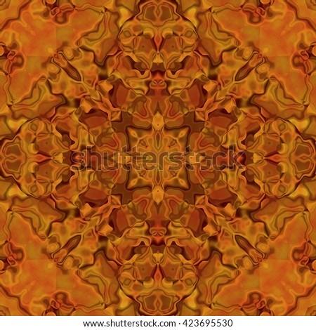 Beautiful shiny orange kaleidoscopic ornament, colorful fractal repeating decoration, orange precious stone seamless texture - stock photo