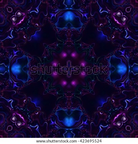 Beautiful shiny purple and blue kaleidoscopic ornament, colorful fractal repeating decoration, purple and blue precious stone seamless texture - stock photo