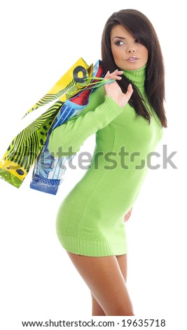 Beautiful shopping girl with bag - stock photo