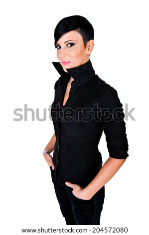 Beautiful short haired young Caucasian woman, over white background