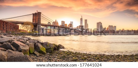 Beautiful shot of Brooklyn Bridge at sunset - stock photo