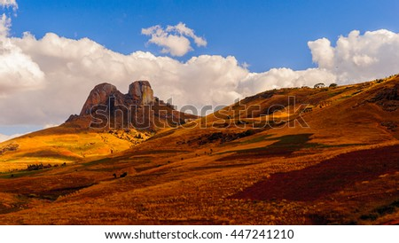 Beautiful sight of a two peaks rock and the mountain in Madagascar
