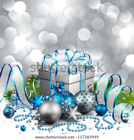 Beautiful Silver And Blue Christmas Background Check My Portfolio For Vector Version