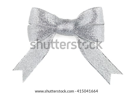 beautiful silver bow on a white background isolated - stock photo