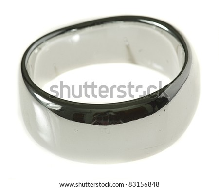 beautiful silver bracelet isolated on a white background - stock photo