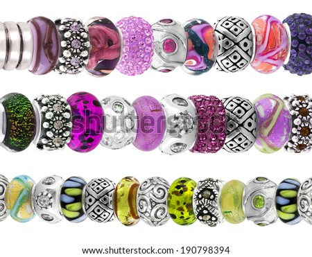 Beautiful silver bracelet with precious stones isolated on white background - stock photo