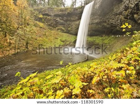 Beautiful Silver Falls in Fall Color - stock photo