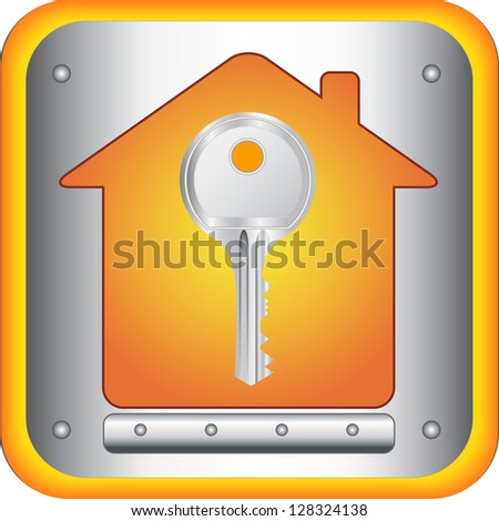 beautiful silver key on house silhouette background - stock photo