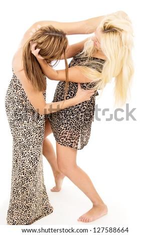 beautiful sisters swear and fight - stock photo