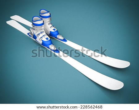 beautiful skiing on a blue background