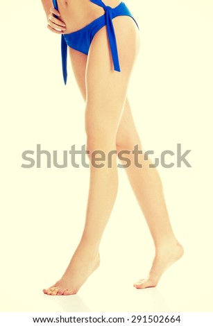 Beautiful skin and fit woman legs - stock photo