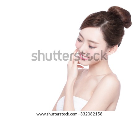 Beautiful Skin care woman enjoy and relax isolated on white background. asian Beauty - stock photo