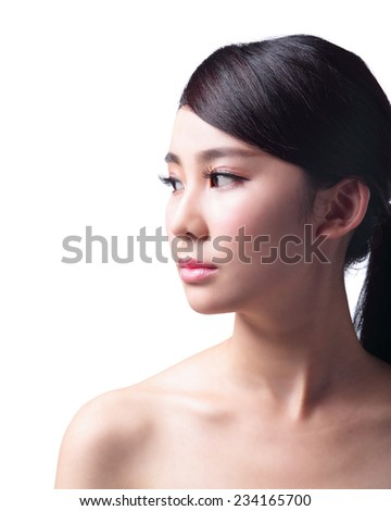 Beautiful Skin care woman isolated on white background. asian Beauty - stock photo