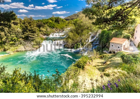 Beautiful Skradinski Buk Waterfall And Old Mill In Krka National Park - Dalmatia Croatia, Europe - stock photo