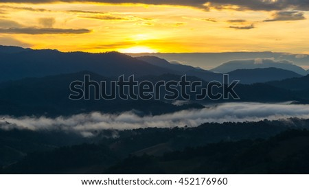 beautiful sky and layers of the mountain before sunrise